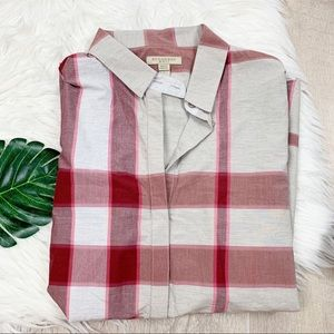 Burberry Tops - Burberry Brit Red and Grey Cotton Down D1211